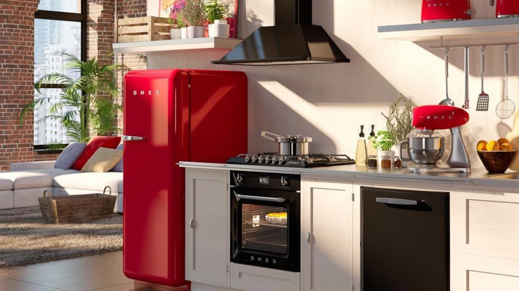 Стильная кухня с ретрохолодильником